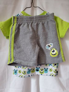 2PC DISNEY MONSTERS INC 12m outfit shirt/shorts