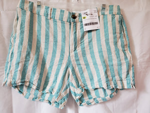 OLD NAVY SIZE 12 JUNIORS TEAL/WHITE STRIPE SHORTS