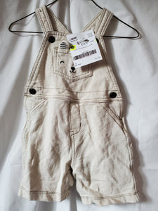 CARTERS 18M CREAM SHORTS OVERALLS w/ animal pocket