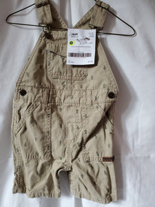 CARTERS 18M SHORTS OVERALLS tan w/ cactus & gecko