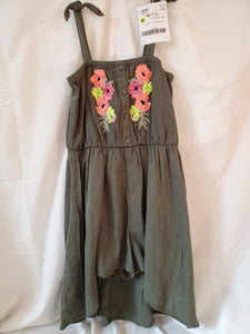 JUSTICE SIZE 10 green spagetti strap SHORT ROMPER w flowers