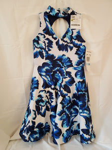 NWT RARE EDITIONS SIZE 12 white dress w/ blue flowers