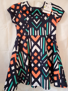 SEQUIN HEARTS SIZE 12 DRESS teal orange white blue