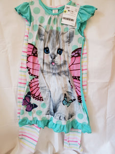 2PC 7/8 pj set Cat nightgown and stripe pants