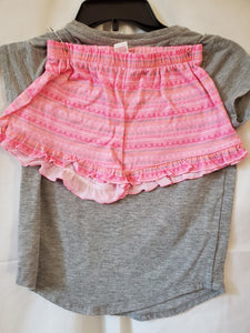 2PC SO 7/8 PJ SET grey owls shirt pink shorts