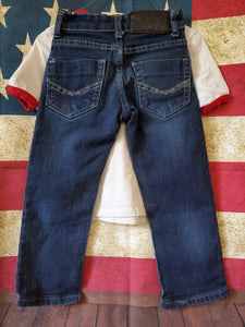 2PC 4T OLD NAVY marvel white shirt BLUE RAG jeans