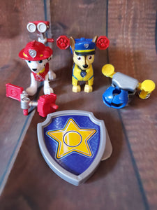 2 clothes changing PAW PATROL pups and shield