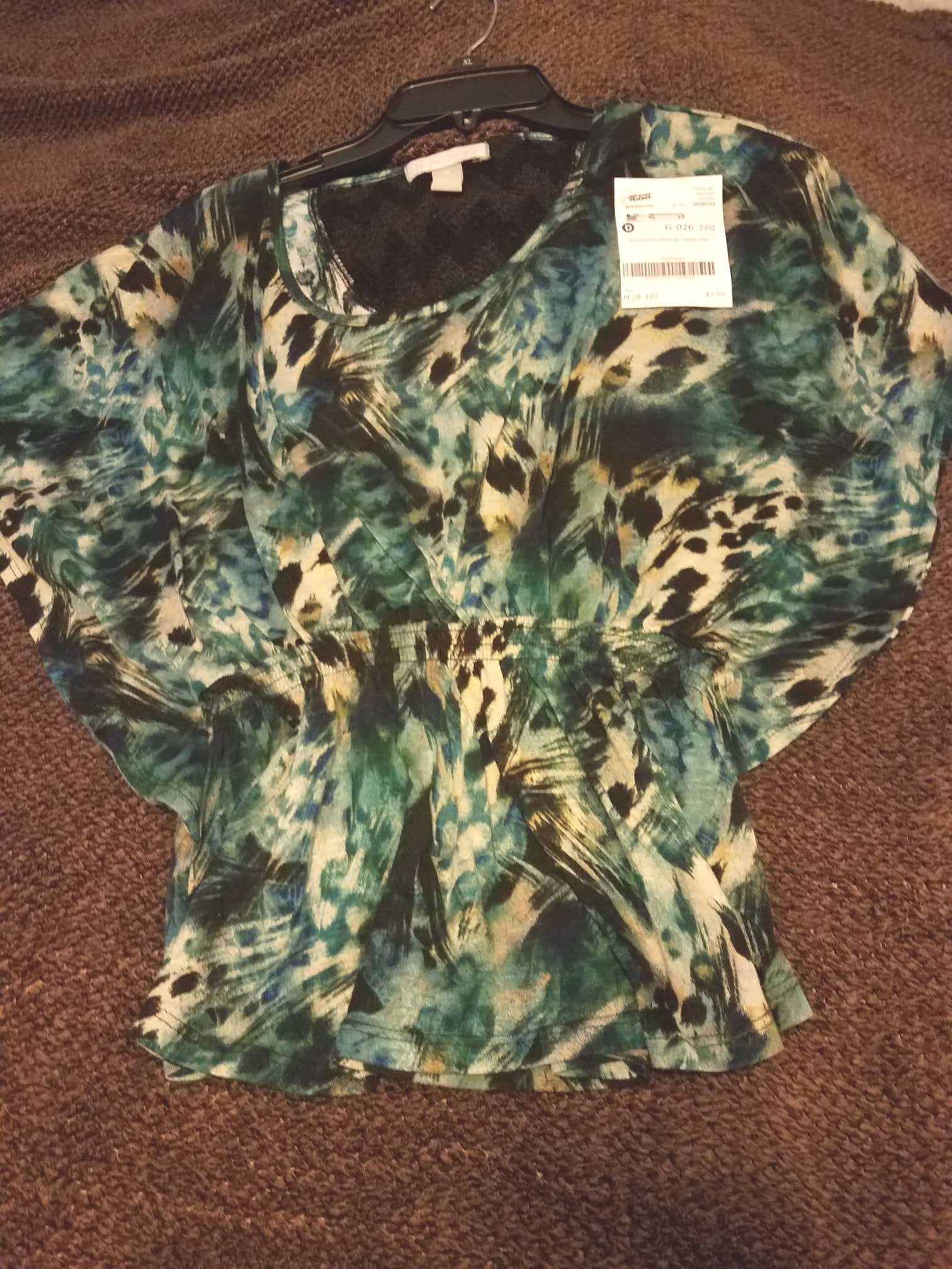 blue teal splash top size Medium