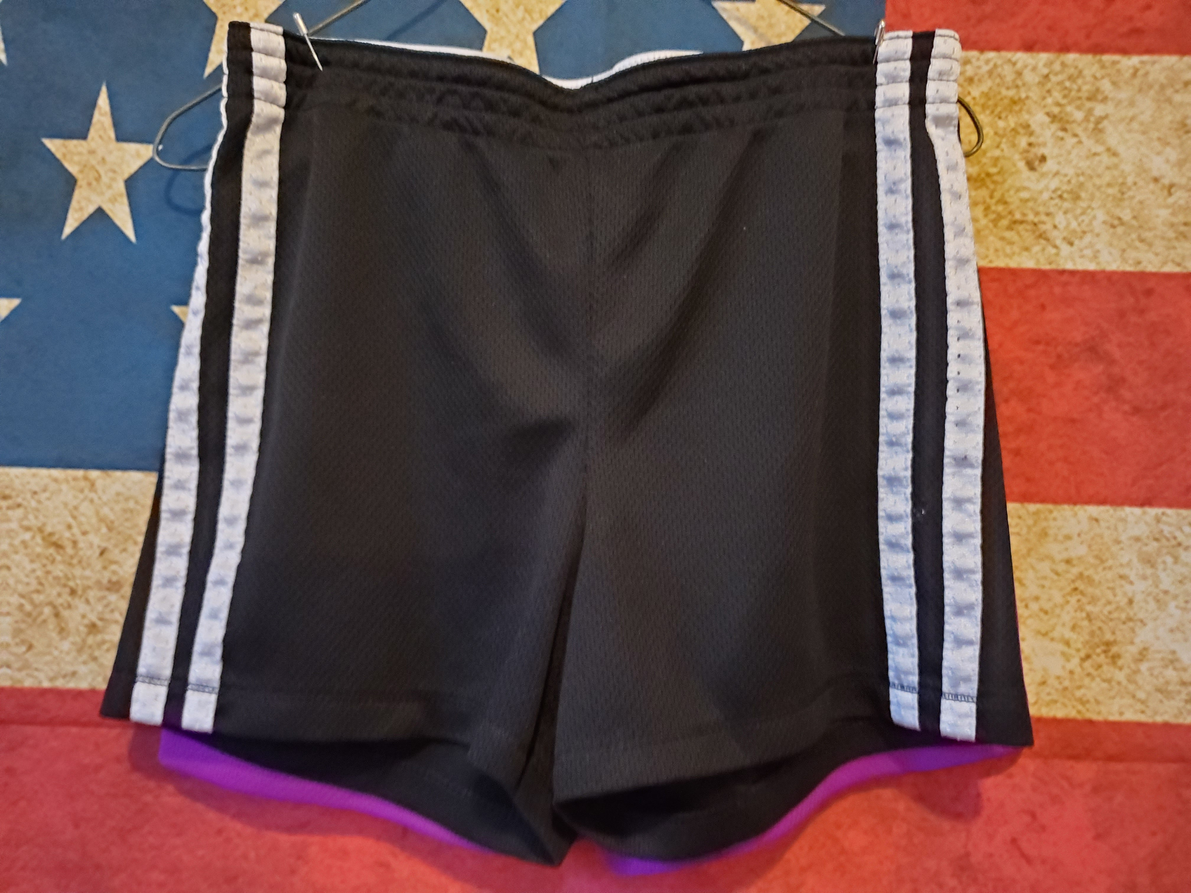 2 PAIR FADED GLORY SIZE 7/8 shorts black & purple