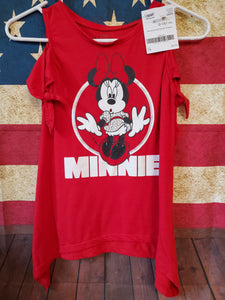 DISNEY size 7/8 red long shirt minnie