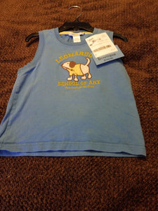 JANIE AND JACK boys blue dog school of art sleeveless top, size 3t