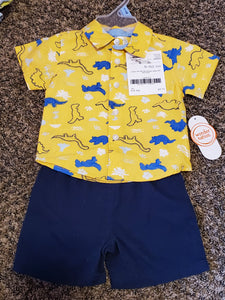NWT 2 piece WONDER NATION 3-6M blue shorts & yellow dino button up shirt