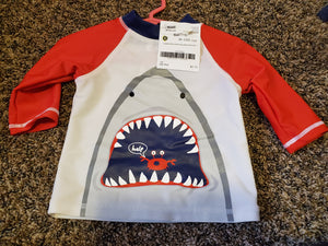 CANDLESTICKS 18M shark swim shirt