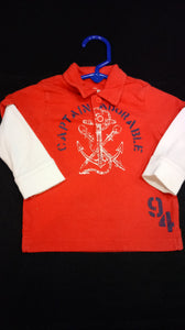 OLD NAVY red anchor polo. Size 6-12 m boys