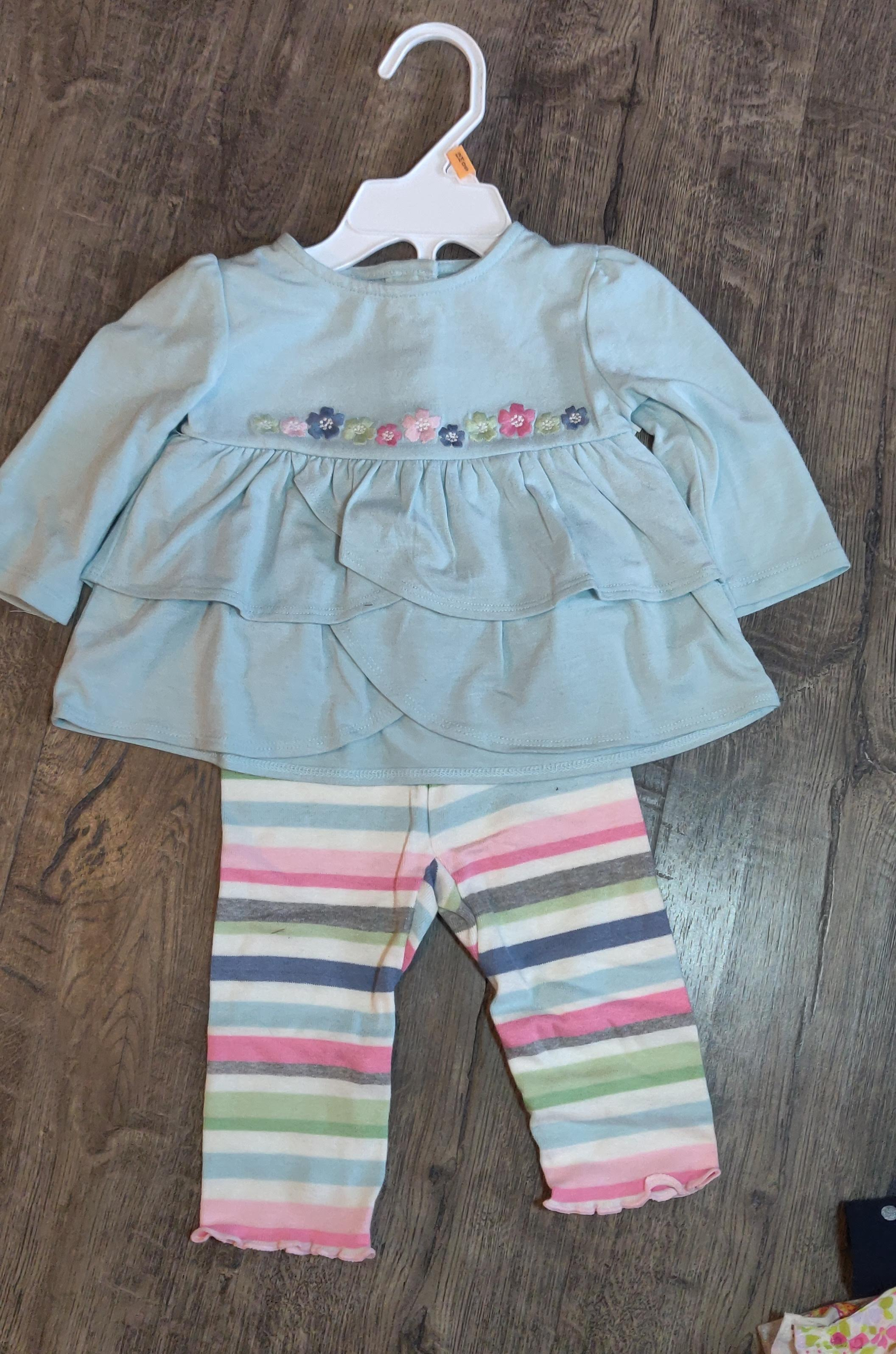 GYMBOREE 2pc *NEW* blue tunic top w/ flowers & striped leggings: 3-6m