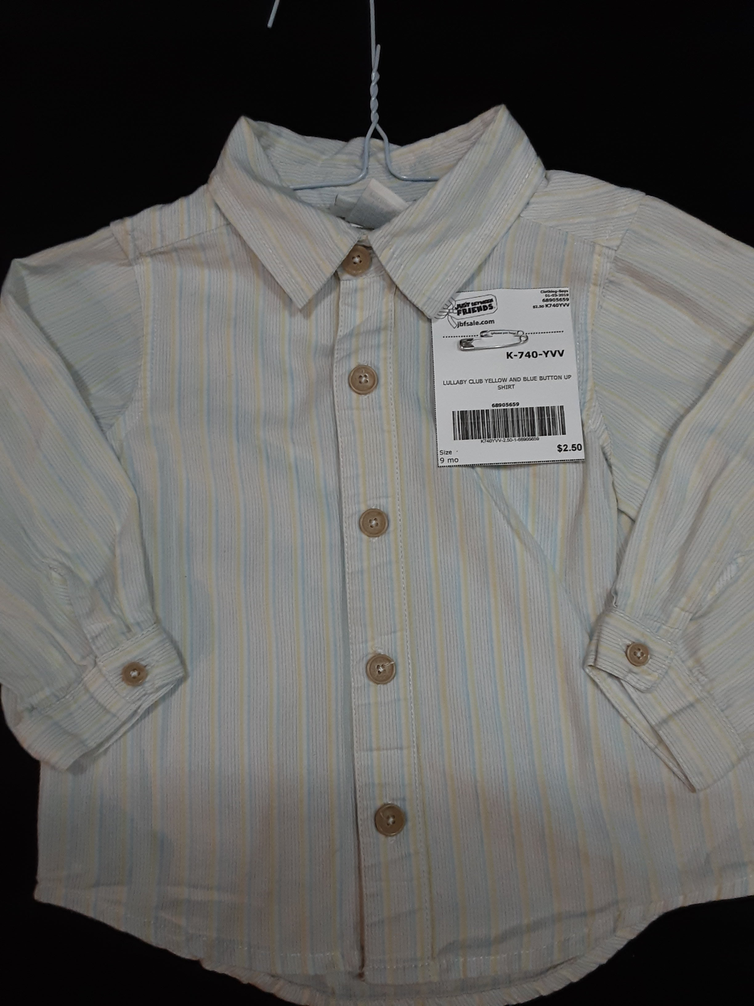 LULLABY CLUB yellow and blue striped button up  shirt  Size 9m boys