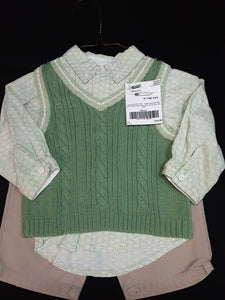 LULLABY CLUB  green sweater vest, green print button up shirt with tan pants  Size 9m boys
