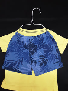 CARTERS yellow shirt with blue shorts  Size 9m boys