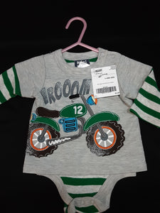MINI BEAN grey and green motorcycle onesie  Size 9m boys
