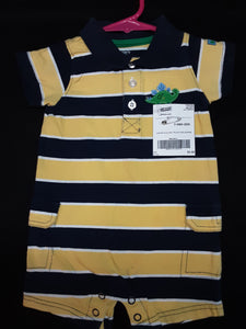 CARTERS blue and yellow striped  romper  Size 9m boys