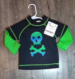 GYMBOREE black and green skull swim shirt: 12-18m