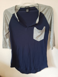 RUE 21 size xs blue shirt with grey sleeves