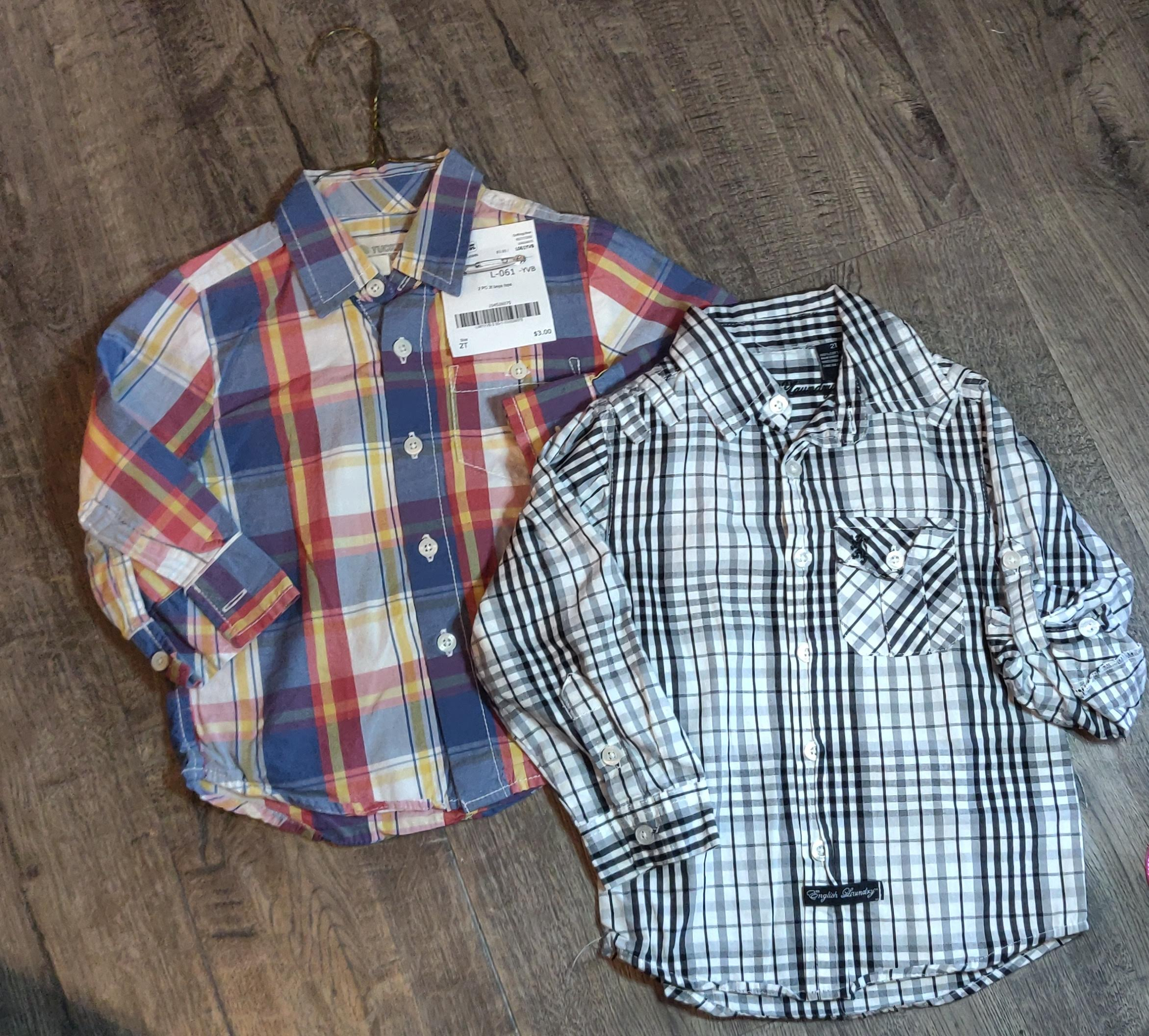 2 shirts: ENGLISH LAUNDRY black plaid & TUCKER & TATE blue plaid: 2t