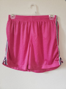 CHAMPION Size small pink shor tf s with purple and white stripe