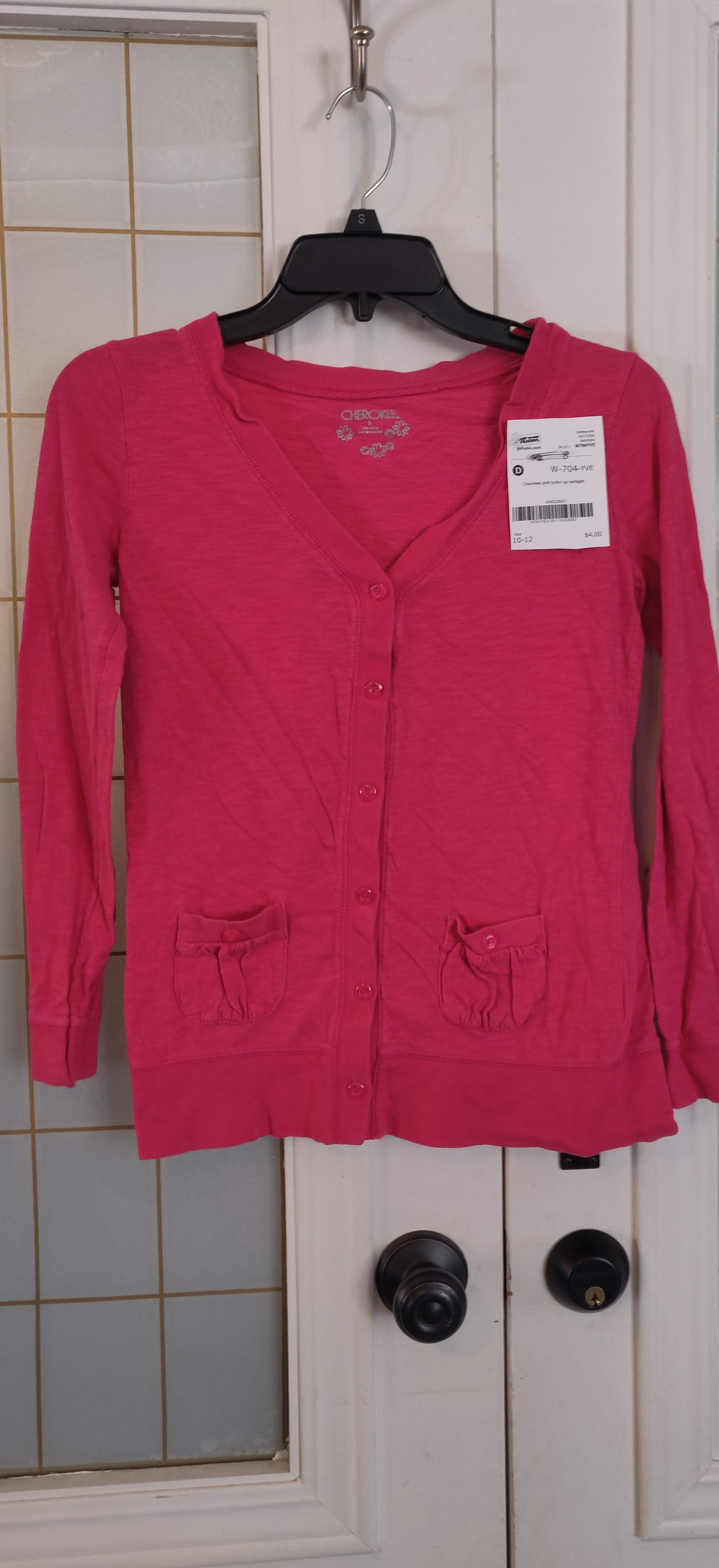 CHEROKEE pink button up cardigan: 10-12