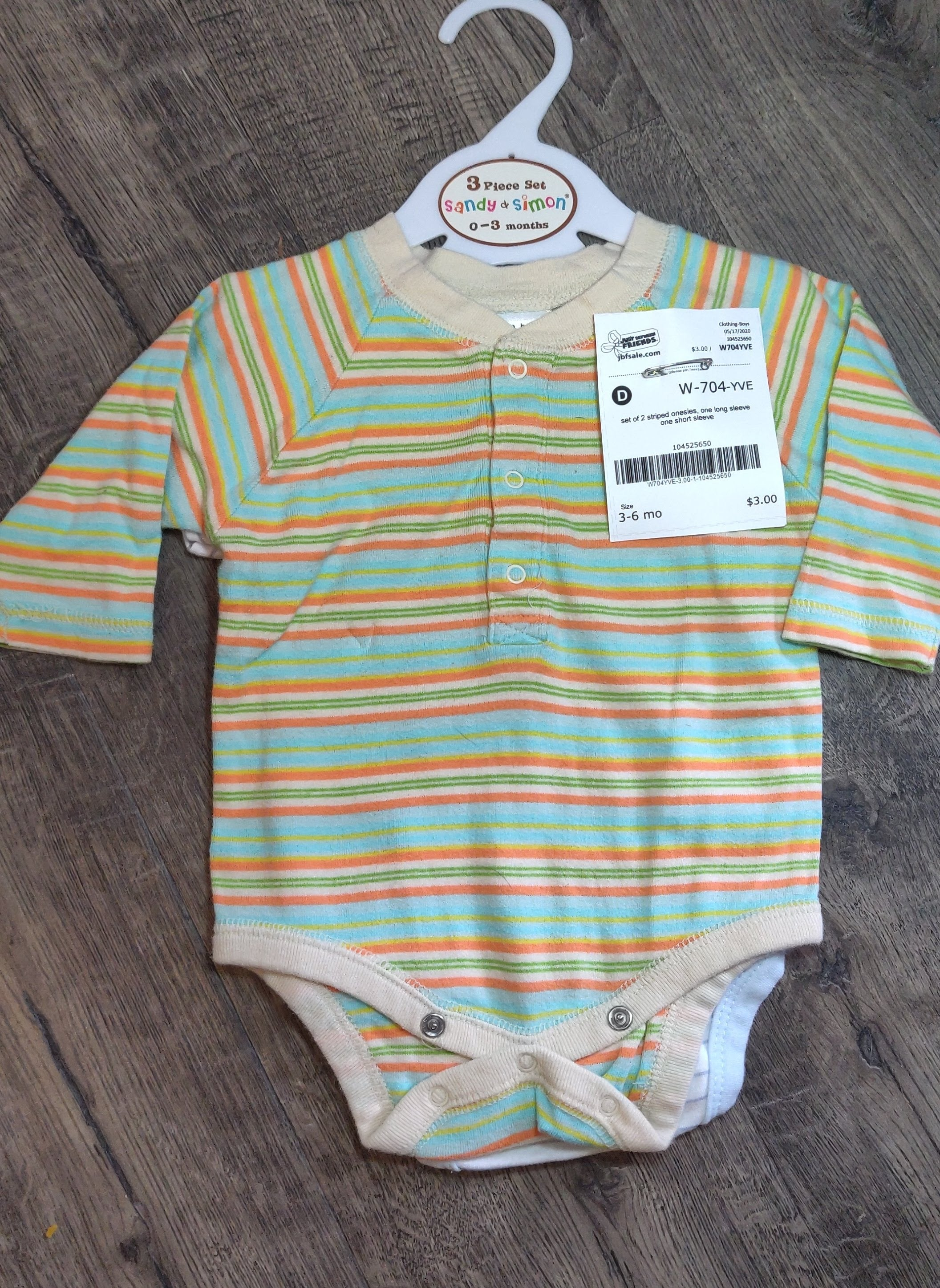 set of TWO: striped onesies: 3-6m