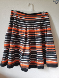 PRINCIPALS PETITE Size 8 orange black and white striped skirt