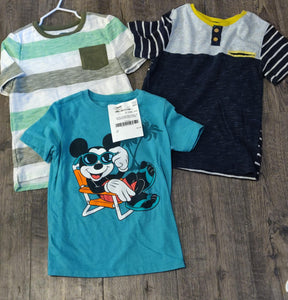 3 pack of shirts: Mickey, green & white stripes, grey & Navy stripes: size 5