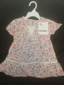 CHILDREN'S PLACE SS white/floral blouse, SIZE 3T