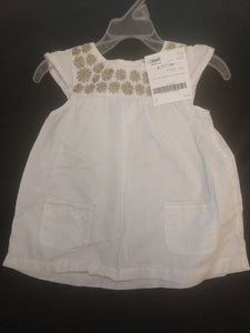 CARTER'S white cap sleeve lightweight blouse w/brown flowers, SIZE 3T