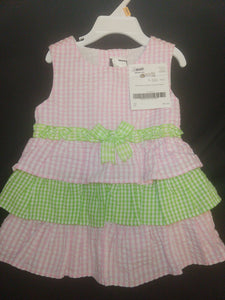 RARE EDITIONS light pink/green gingham tiered ruffle dress, SIZE 3T