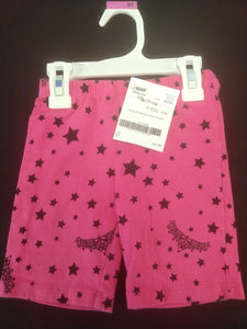 FADED GLORY pink long bicycle shorts with black stars/tiaras, SIZE 5T