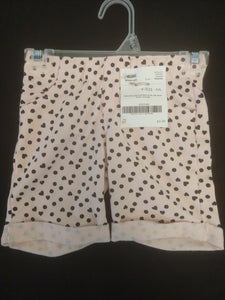 OKIE DOKIE light pink knit shorts with black hearts and polka dots, SIZE 5T