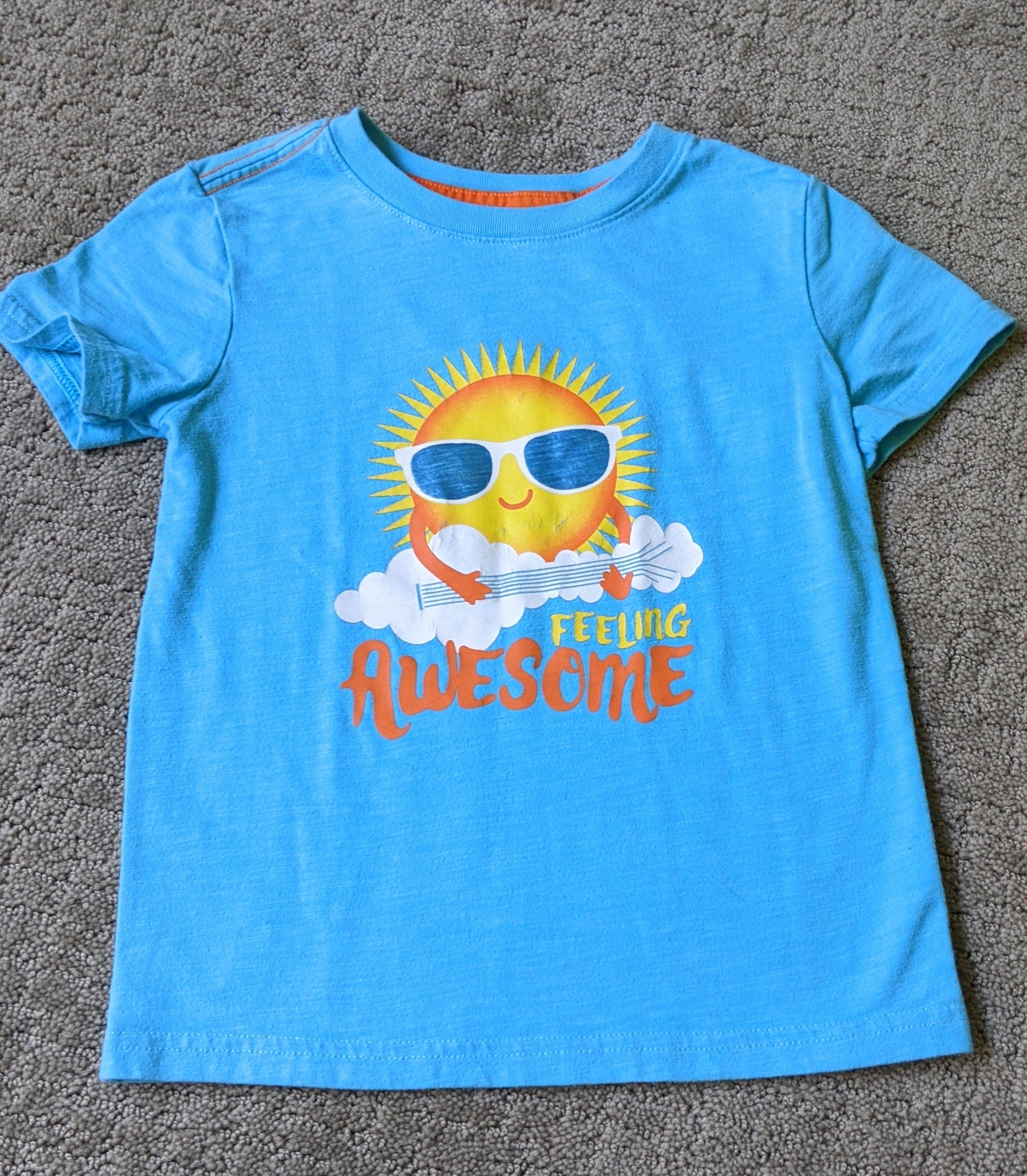 "Jack & Cat blue t shirt with sun ""Feeling awesome"", Size 5T"