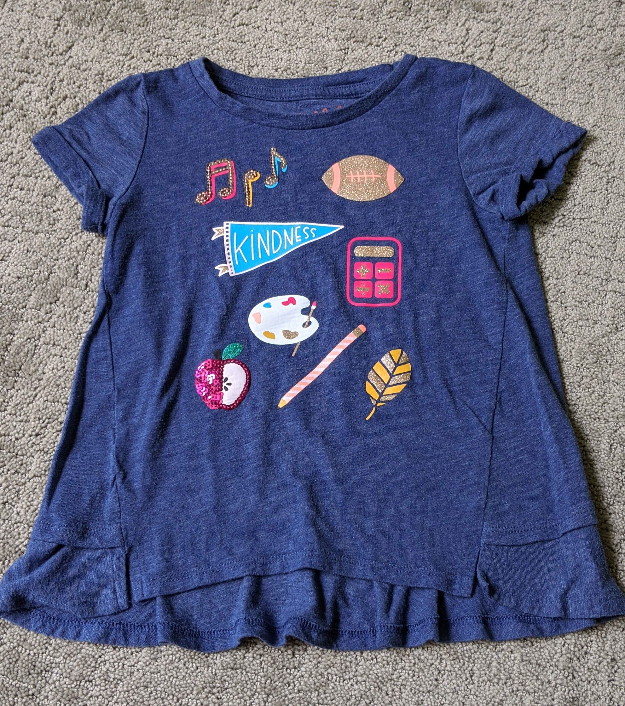 Cat & Jack blue t shirt with kindness theme, Size 6