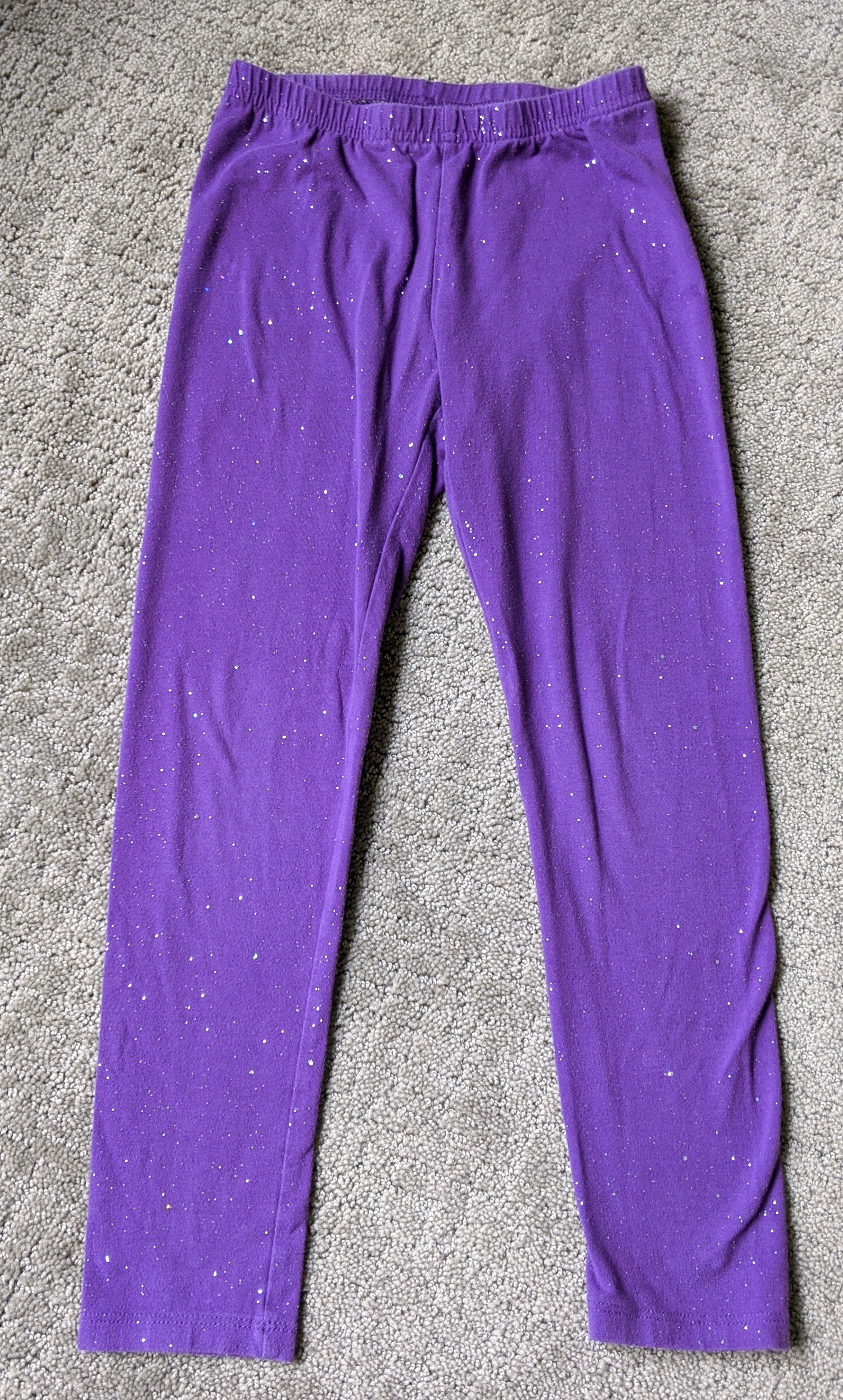 Jumping Bean purple with silver glitter sparkles leggings, Size 6X
