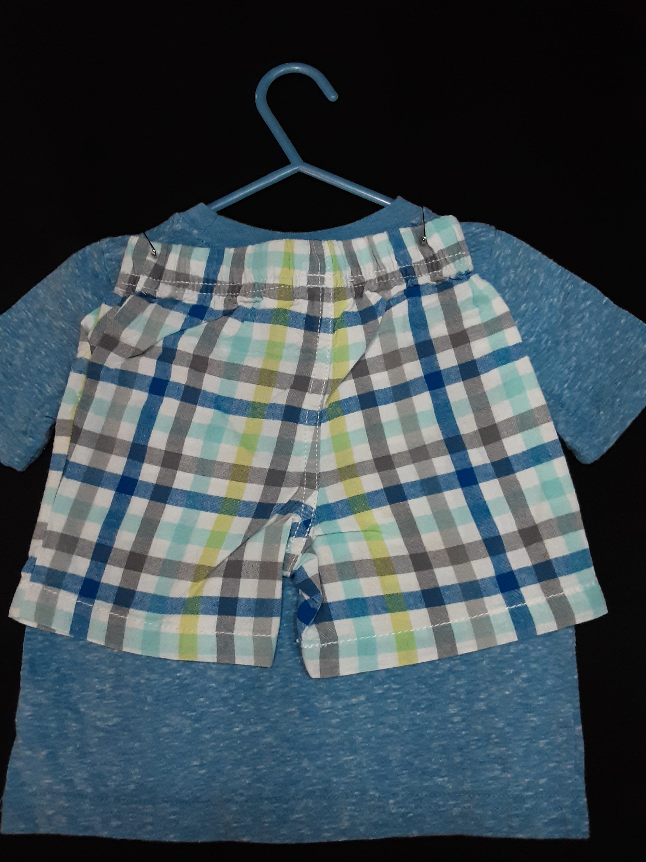 JUMPING  BEAN blue whale shirt with checkered  shorts  Size 18m boys