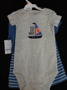 CARTERS blue and grey set  onesie, shirt and shorts  New Size 12m boys