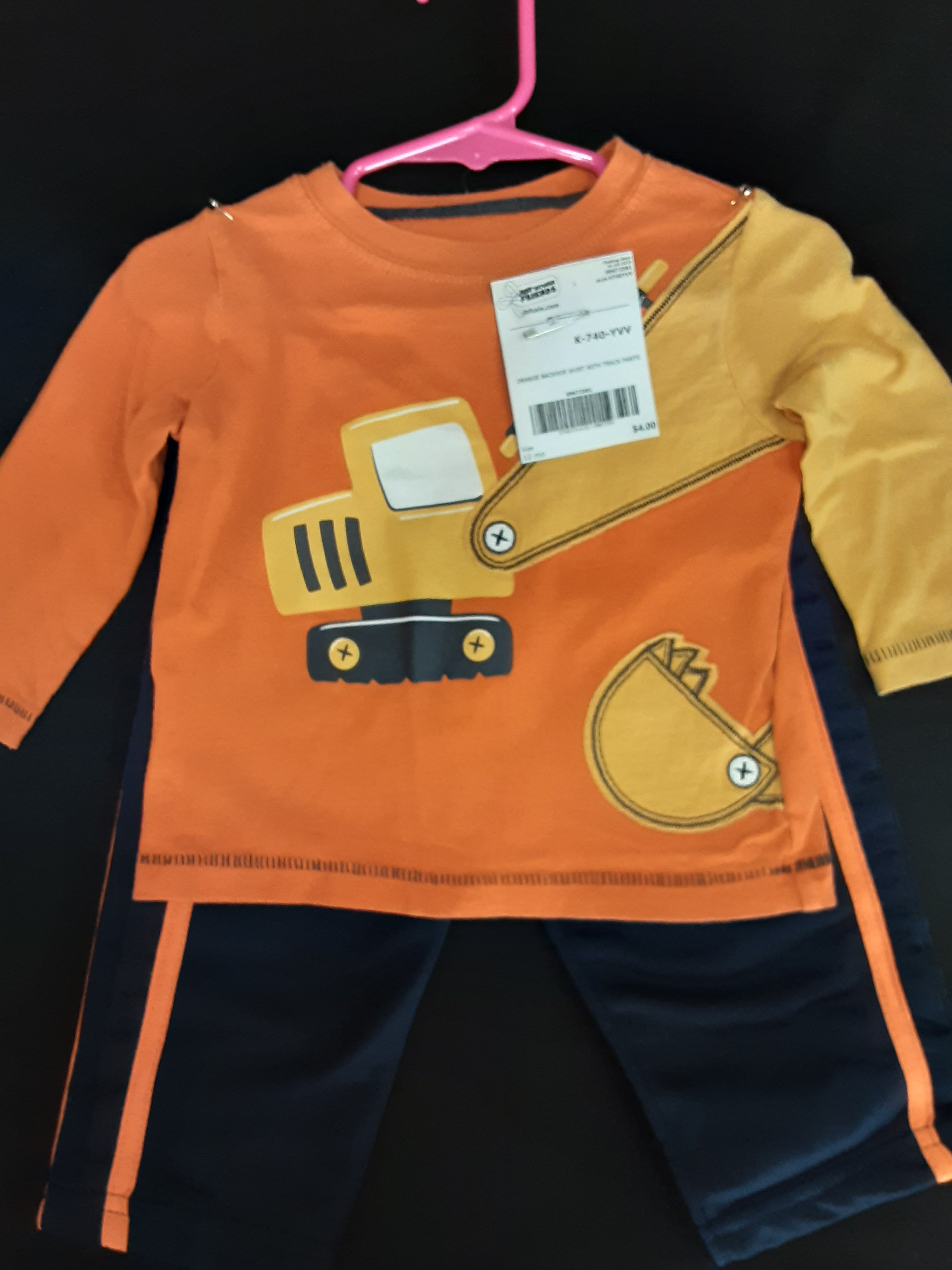 JUMPING BEAN orange and blue backhoe sweatsuit  Size 12m boys