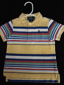 POLO yellow, blue,red striped polo  Size 12m boys