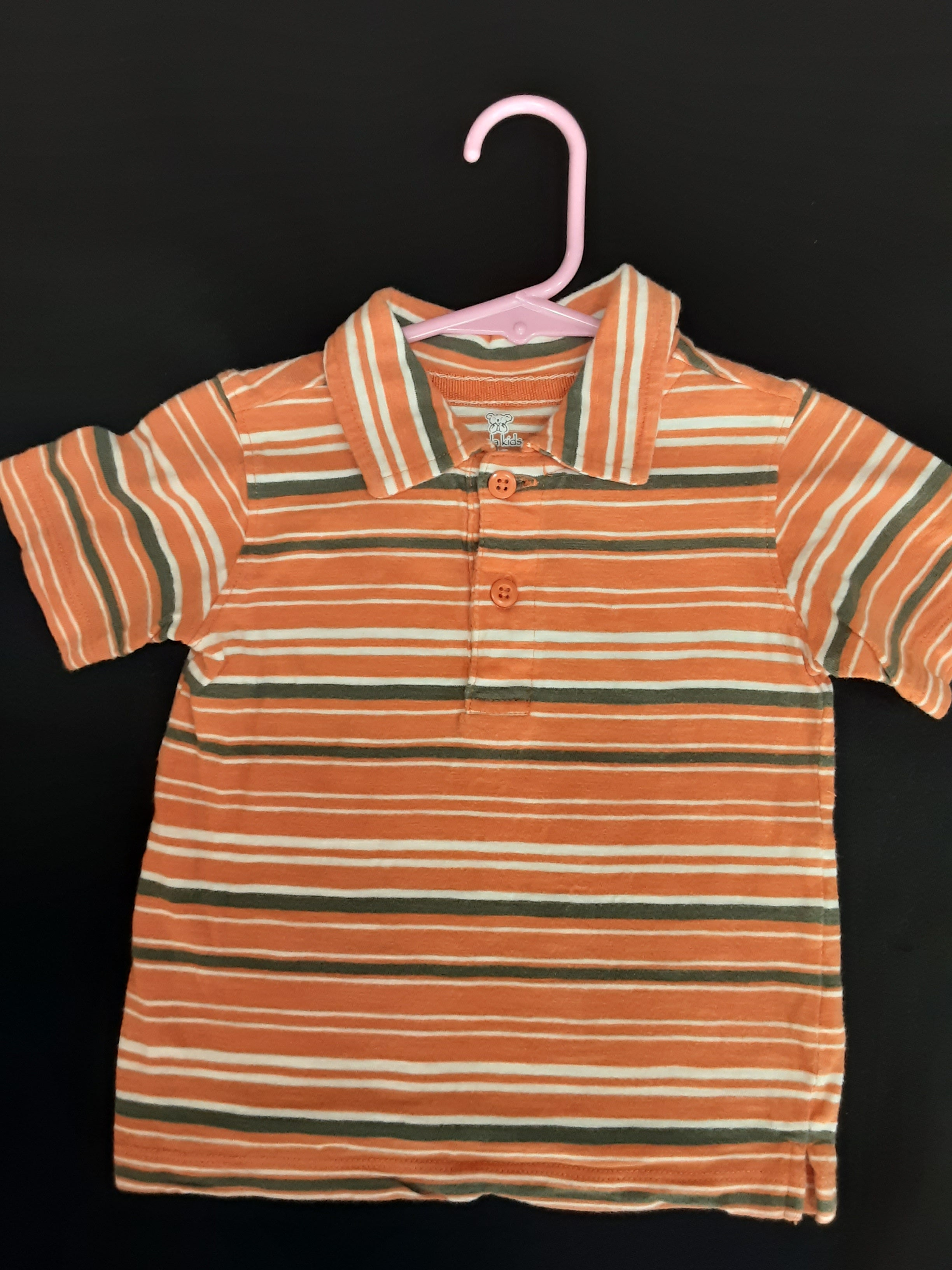 KOALA KIDS orange and olive green striped polo  Size 12m boys