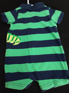 CARTERS blue and green striped romper Size 12m boys