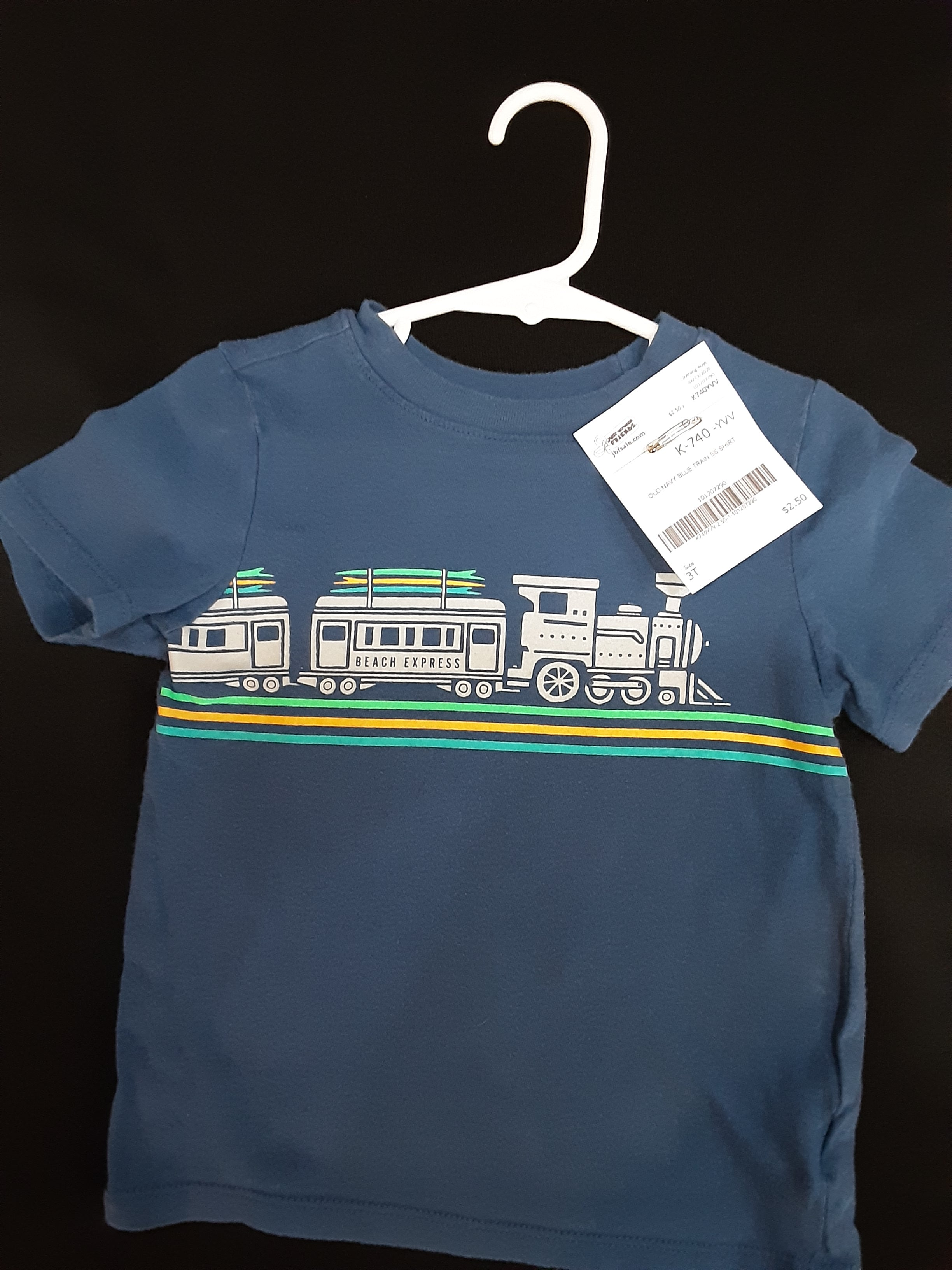 OLD NAVY blue train shirt  Size 3T boys