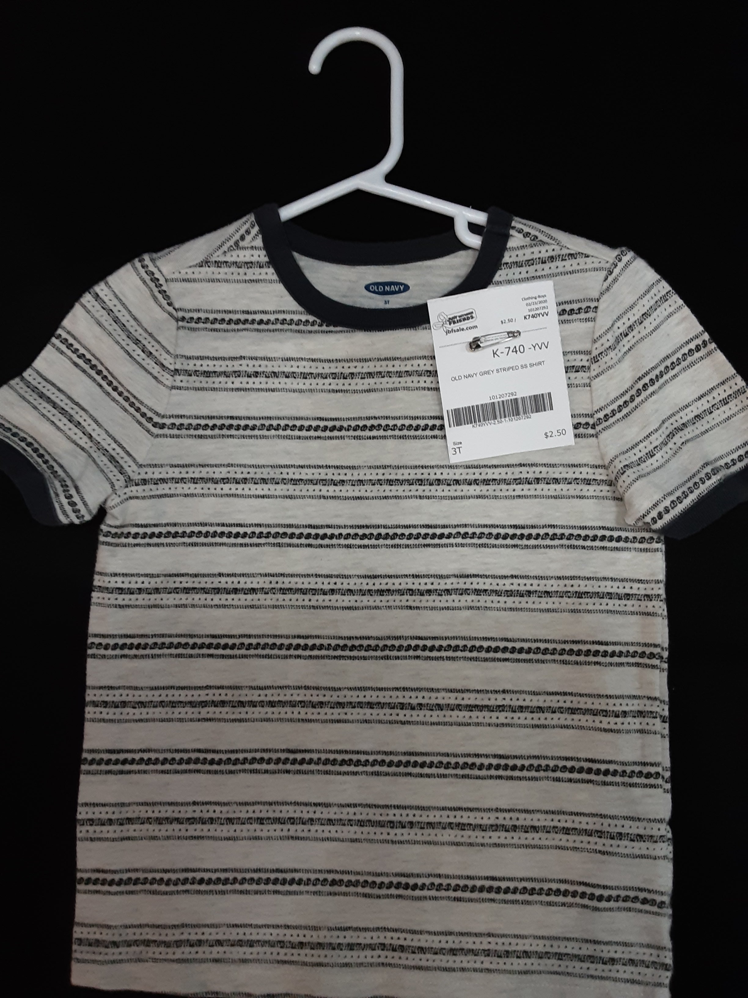 OLD Navy grey striped shirt Size 3T boys