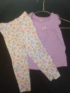 CHILD OF MINE 2 pc set: light purple/white dot flutter sleeve top, coord. white/floral knit leggings. SIZE 24M