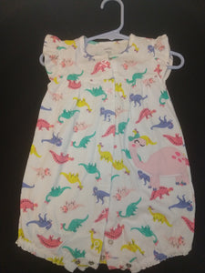 CARTER'S white flutter sleeve shorts romper with dinos. SIZE 18M